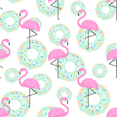 Pink flamingos and donuts trendy seamless pattern on white background.