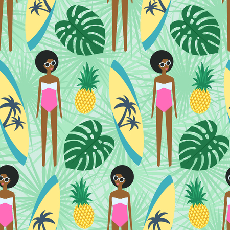 Cute african american girl with surfboard, pineapple and palm leave seamless pattern. Illustration