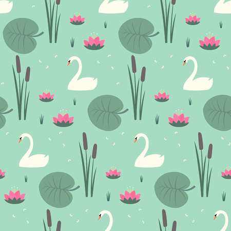 White swans, water lily, bulrush and leaves seamless pattern on mint green background.
