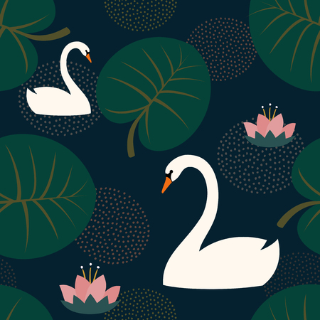 Trendy seamless pattern with white swans, water lily and leaves on dark blue background. Night lake art background. Fashion design for fabric, wallpaper, textile and decor.