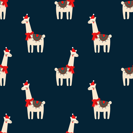Cute lama with xmas hat seamless pattern on dark blue background. Illusztráció