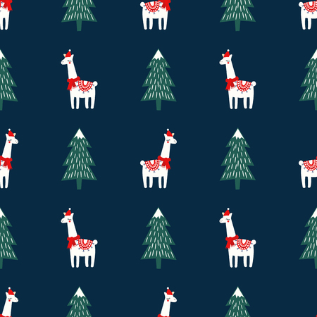 Christmas tree and cute lama with xmas hat seamless pattern on dark blue background.