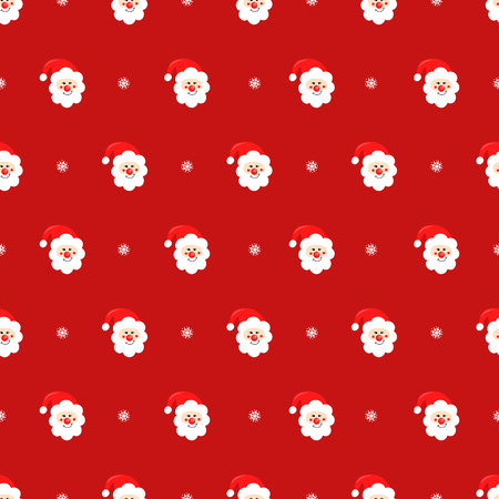 Santa Claus and snowflake seamless pattern on red background.