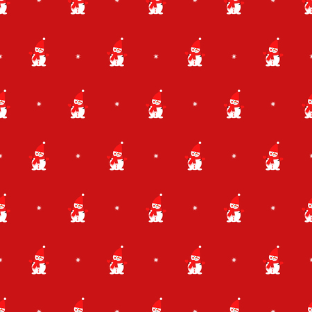 Cute snowman and snowflake seamless pattern on red background. Illusztráció