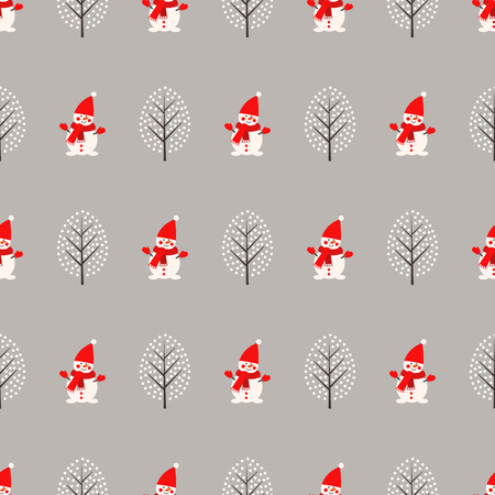 Cute snowman and winter tree seamless pattern on grey background. Illusztráció