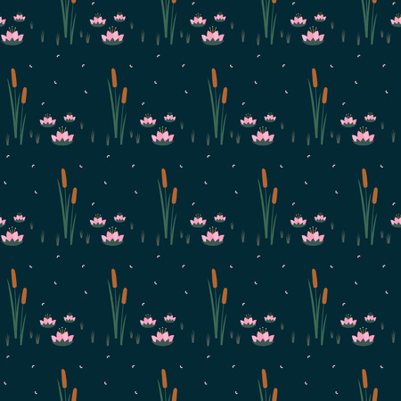 Water lilies with bulrush trendy seamless pattern on dark blue background. Illusztráció