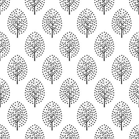 Black and white scandinavian style decorative trees seamless pattern.