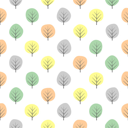 Tiny decorative trees seamless pattern. Illusztráció