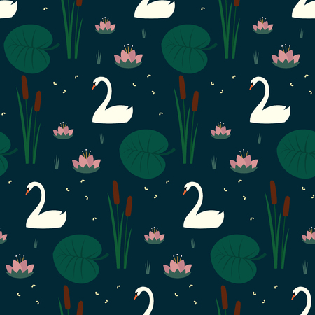 Trendy seamless pattern with white swans, water lily, bulrush and leaves on dark blue background.