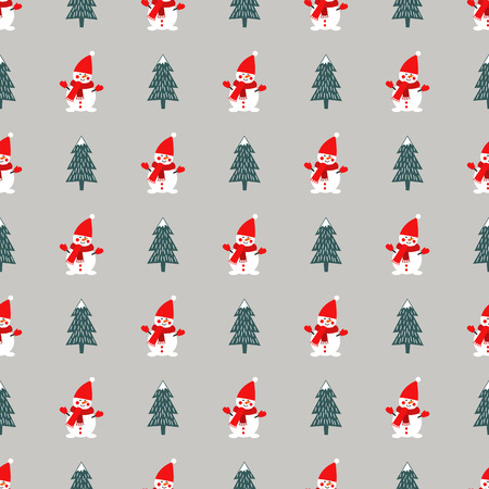 Christmas tree and cute snowman seamless pattern on grey background. Illusztráció