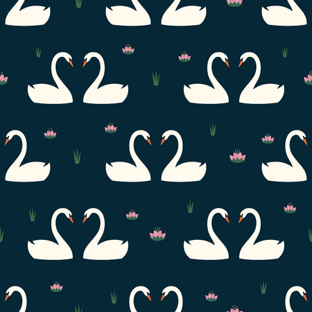 Trendy seamless pattern with white swans in love and water lily on dark blue background.