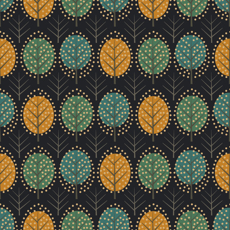 Scandinavian style decorative trees seamless pattern on dark background. Illusztráció