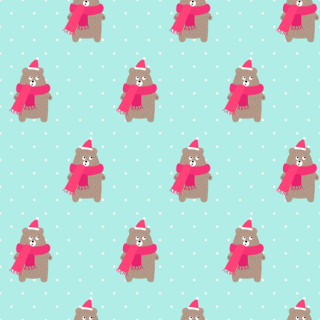 Christmas bear in holidays hat and scarf with snowflakes seamless pattern on polka dots mint green background.