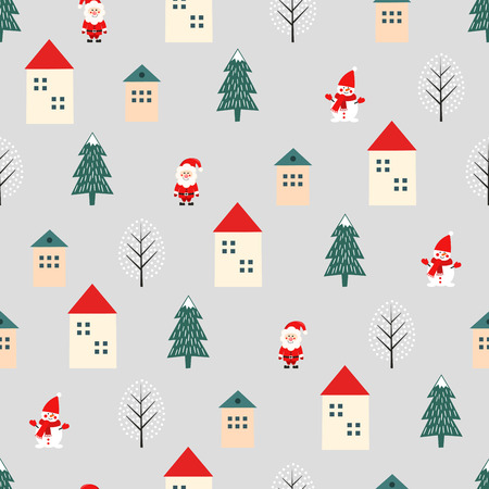 Christmas tree, Santa Claus, houses and snowman cute seamless pattern on grey background.