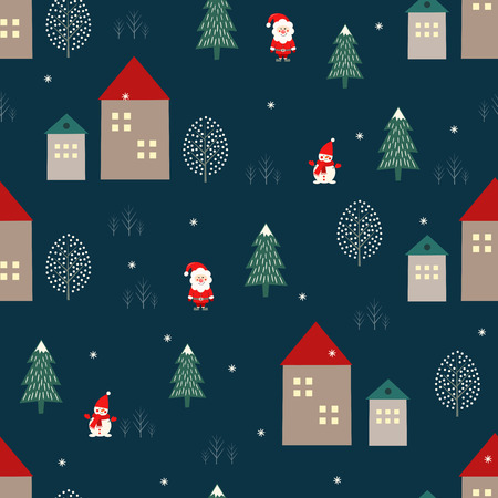 Santa Claus, Christmas tree, houses and snowman seamless pattern on blue background.