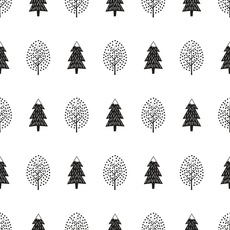 Black and white cute winter trees seamless pattern.