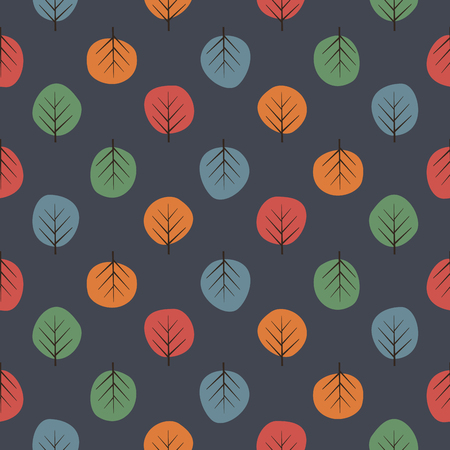 Cute trees seamless pattern. Dark nature background with bright leaves.
