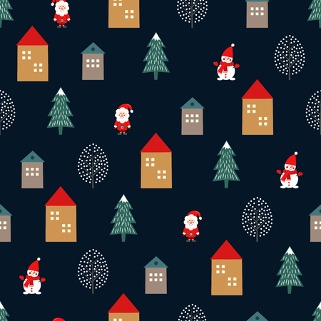 Christmas tree, Santa Claus, houses and cute snowman seamless pattern on dark blue background. Illusztráció