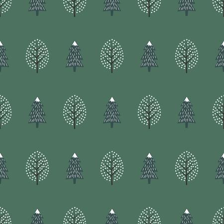 Cute winter trees seamless pattern. Happy New Year background.