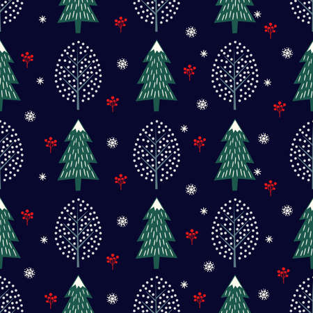 Cute winter trees seamless pattern on dark blue background. Vector design with xmas trees, snowflakes, berries for winter holidays. Print for textile, wallpaper, wrapping paper, fabric.