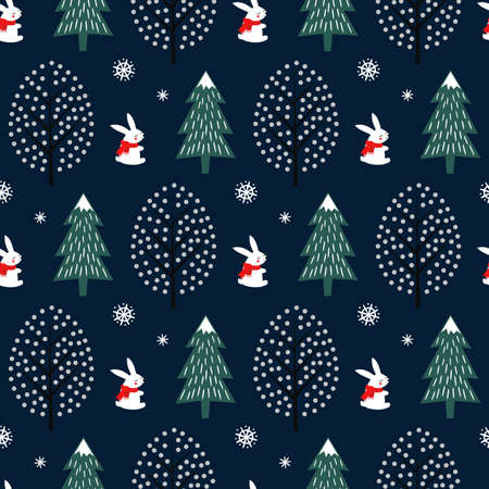 Xmas tree, snowflakes, rabbit seamless pattern on dark blue background. Happy New Year and Merry Xmas nature background. Vector winter design for textile, wrapping paper, fabric, card. Illusztráció