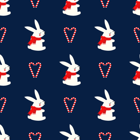 Xmas bunny with candy canes heart seamless pattern on dark blue background.