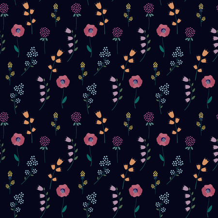 Floral pattern on dark background. Cute tiny flowers seamless background - campanula, clover, poppies. Beautiful flowers texture. Design for fabric, wallpaper, textile and decor.