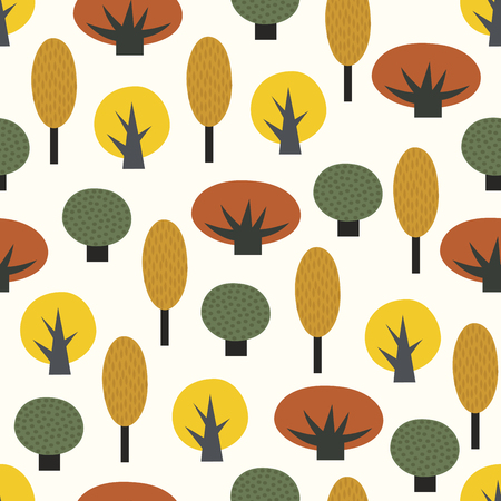 Scandinavian style decorative trees seamless pattern.