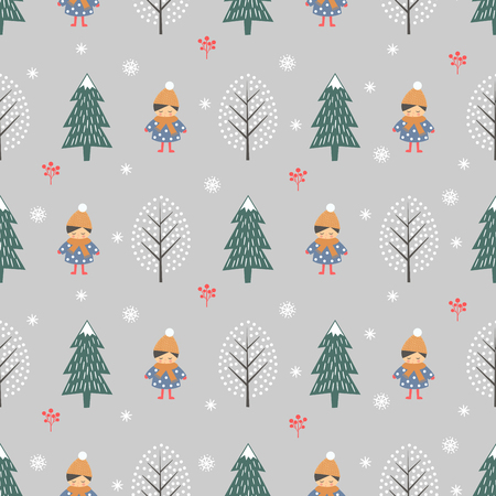 Winter forest with girl seamless pattern on grey background. Illusztráció