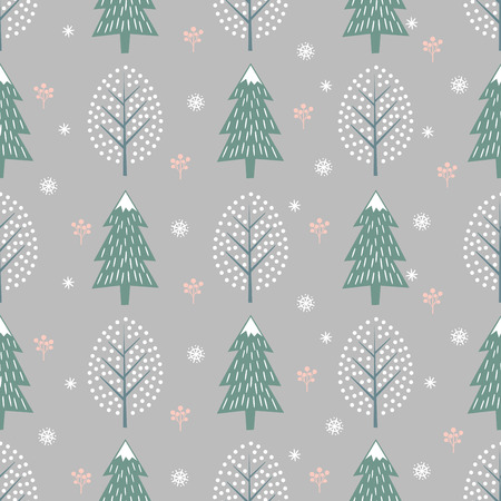 Winter trees seamless pattern on grey background.