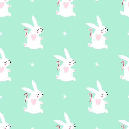 Cute baby rabbit jumping with candy cane and snowflakes seamless pattern on mint green background. Winter holidays background. Vector design for textile, wrapping paper, fabric, card.