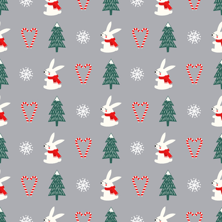 Xmas tree, snowflakes, rabbit, candy canes heart seamless pattern on grey background. Happy New Year and Merry Xmas background. Vector design for textile, wrapping paper, fabric, card. Illusztráció