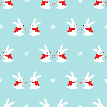 Cute baby rabbits with candy cane hearts and snowflakes seamless pattern on blue background.