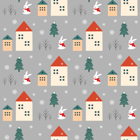 Xmas tree, snowflakes, rabbit and houses seamless pattern on grey background.