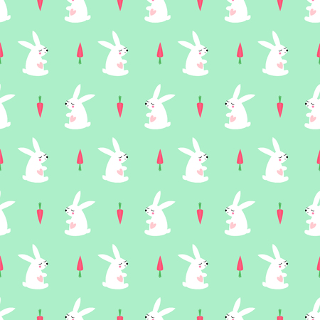 White bunny with carrot seamless pattern mint green background. Baby animal vector illustration. Cute vector child drawing style design for textile, wallpaper, fabric.