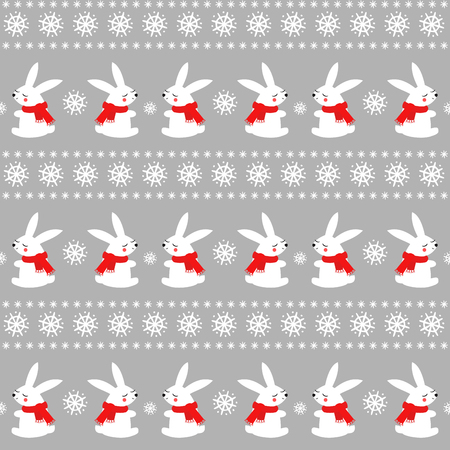 Cute baby rabbits with snowflakes seamless pattern on grey background. Winter holidays background. Vector winter design for textile, wrapping paper, fabric, card. Illusztráció
