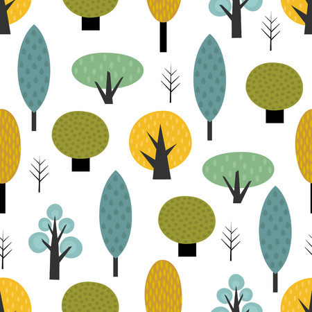 Scandinavian style trees seamless pattern on white background. Cute forest vector illustration. Design for textile, wallpaper, fabric. Illusztráció