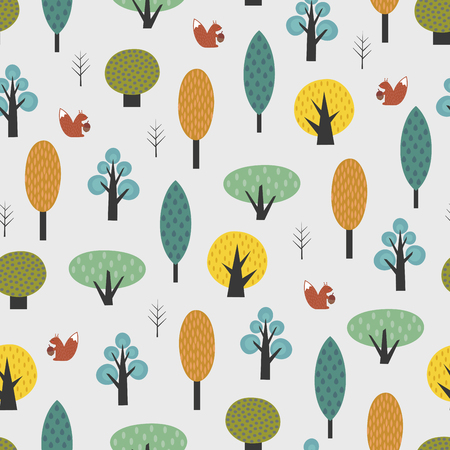 Scandinavian style trees with baby squirrel seamless pattern. Cute forest vector illustration. Design for textile, wallpaper, fabric. Illusztráció