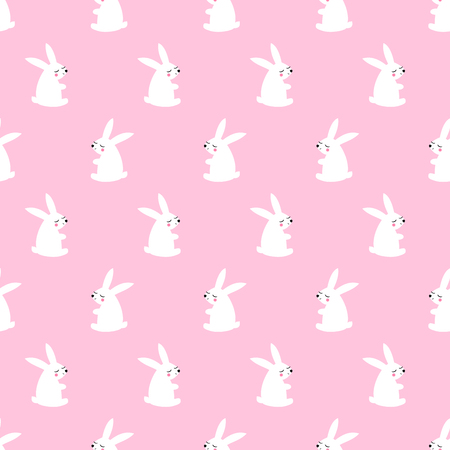 Cute white bunny seamless pattern on pink background. Baby animal vector illustration. Vector child drawing style design for textile, wallpaper, fabric.