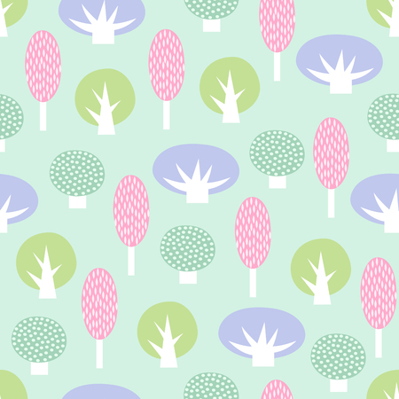Cute scandinavian style decorative trees seamless pattern. Pastel colors nature background. Spring forest vector illustration. Design for textile, wallpaper, fabric. Illusztráció