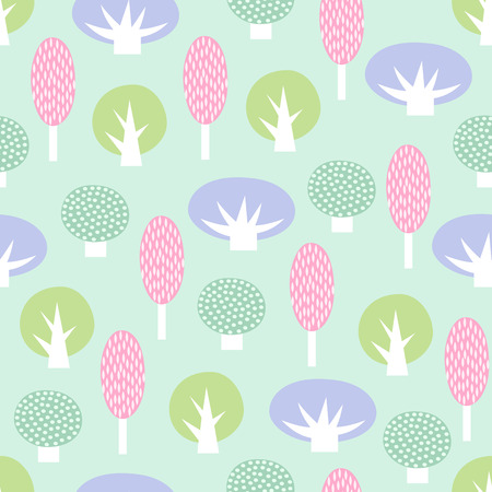 Cute scandinavian style decorative trees seamless pattern.