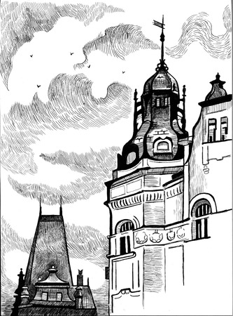 unesco: Prague- black and white drawing. European buildings and architecture.