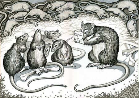 Rat pack with bones and a mask. Hand drawn illustration.