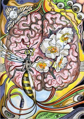 wasp: The human brain and a wasp. Surreal hand drawn illustration.
