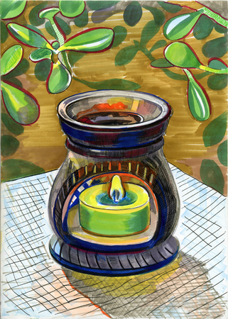 fume: Oil burner and Crassula. Hand drawn illustration.