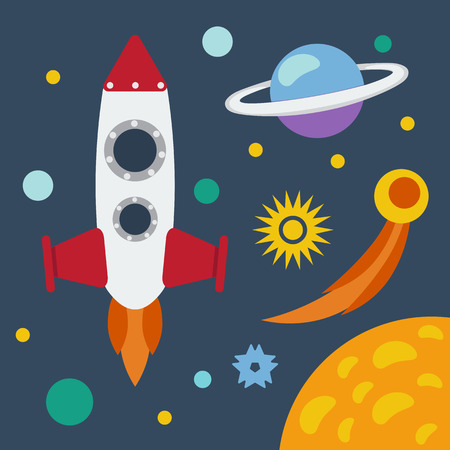 astronomic: Space theme banner or card with flat astronomic symbols