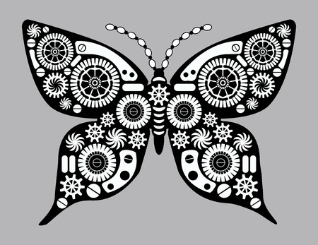 Steampunk butterfly. Fantastic insect in vintage style for tattoo, sticker, print and decorations. Mechanism made of cogs and gears.  イラスト・ベクター素材