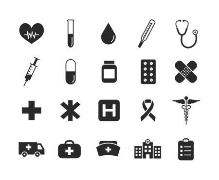 Health care black icon set. Medical icons. Medicines, medical supplies. Vector illustration.