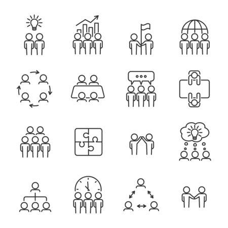 Insieme dell'icona della linea di lavoro di squadra semplice. Concetto di squadra di affari. Icone di gestione, riunione, pianificazione, collaborazione. Tratto modificabile. Illustrazione vettoriale. Vettoriali