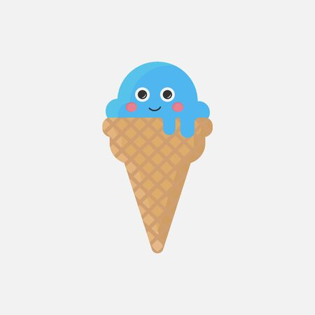 Cute blue ice cream cone. Flat design. Melting cartoon ice cream character. Isolated on white background. Vector illustration. Illustration
